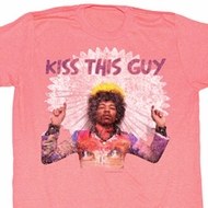 Jimi Hendrix Shirt Kiss This Guy Adult Pink Tee T-Shirt