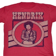 Jimi Hendrix Shirt Ripping It Up Adult Red Heather Tee T-Shirt