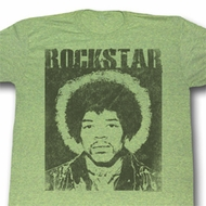 Jimi Hendrix Shirt Rockstar Adult Green Heather Tee T-Shirt