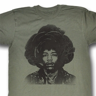 Jimi Hendrix Shirt Rosebud Adult Green Heather Tee T-Shirt