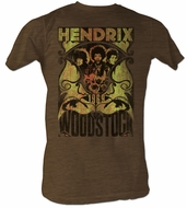 Jimi Hendrix T-shirt - J Post Adult Heather Brown Tee Shirt