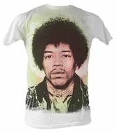 Jimi Hendrix T-shirt - Jimi Face Adult White Tee Shirt