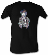 Jimi Hendrix T-shirt - Paint Adult Black Tee Shirt