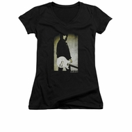 Joan Jett Shirt Juniors V Neck Pose Black T-Shirt