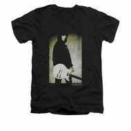 Joan Jett Shirt Slim Fit V-Neck Pose Black T-Shirt