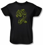 Jurassic Park Ladies T-shirt Movie Rex Dinosaur Mount Black Tee Shirt