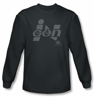 Jurassic Park T-shirt Ingen Logo Adult Charcoal Long Sleeve Tee Shirt
