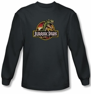 Jurassic Park T-shirt Retro Rex Adult Charcoal Long Sleeve Tee