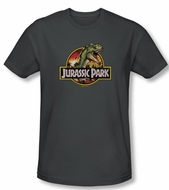 Jurassic Park T-shirt Retro Rex Adult Charcoal Slim Fit Tee Shirt