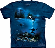 Killer Whale Shirt Tie Dye Stormy Night T-shirt Adult Tee