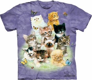 Kitten Shirt Tie Dye 10 Kittens Adult Tee T-shirt