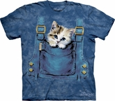 Kitty Shirt Pocket Kitten Adult Tie Dye Tee T-shirt