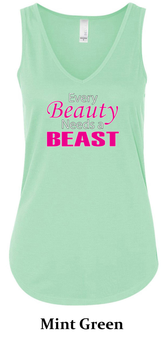 Ladies Fitness Tanktop Every Beauty Needs a Beast Flowy V ...