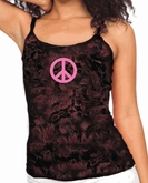 Ladies Peace Sign Shirt - Pink Peace Tie Dye Camisole