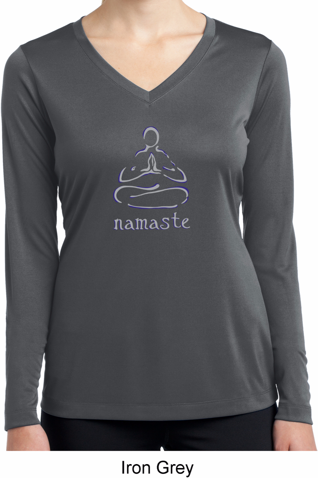 Ladies Shirt Namaste Lotus Pose Dry Wicking Long Sleeve