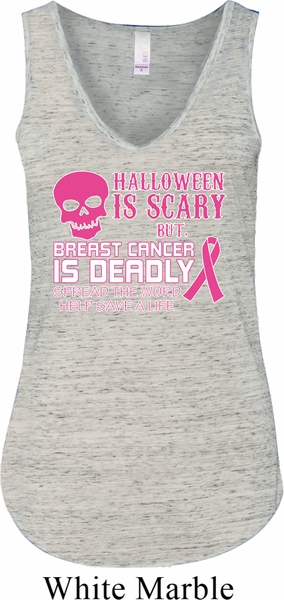 Ladies Tanktop Halloween Scary Cancer Deadly Flowy V Neck
