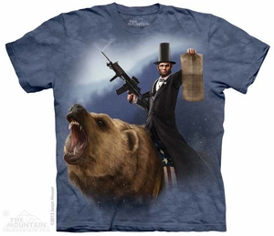 Lincoln Riding A Grizzly Shirt Tie Dye Adult T-Shirt Tee