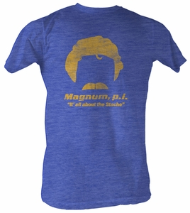 Magnum P.I. T-shirt It's All About The Stache Adult Royal Tee Shirt