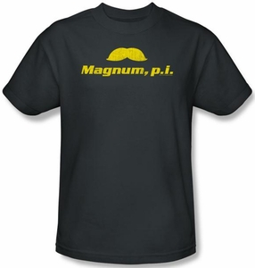 Magnum PI Kids T-shirt The Stache Youth Charcoal Tee Shirt