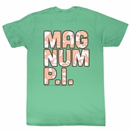 Magnum PI Shirt Flower Filled Clover Green T-Shirt