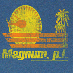 Magnum PI Shirt Into The Sun Adult Blue Heather Tee T-Shirt