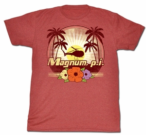 Magnum PI T-shirt Flowers Classic Adult Red Heather Tee Shirt
