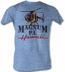 Magnum PI T-shirt Flyin Solo Adult Light Blue Tee Shirt