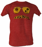 Magnum PI T-shirt Mustache Classic Adult Red Tee Shirt