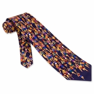 Marathon Tie Navy Blue Silk Necktie - Mens Sprorts Neck Tie