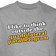 Math Shirt Think Outside Quadrilateral Parallelogram Grey Tee T-shirt
