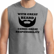Mens Funny Shirt Great Beard Great Responsibility Muscle Tee T-Shirt