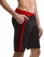 Mens Moisture Wicking Yoga Shorts - Black/Red