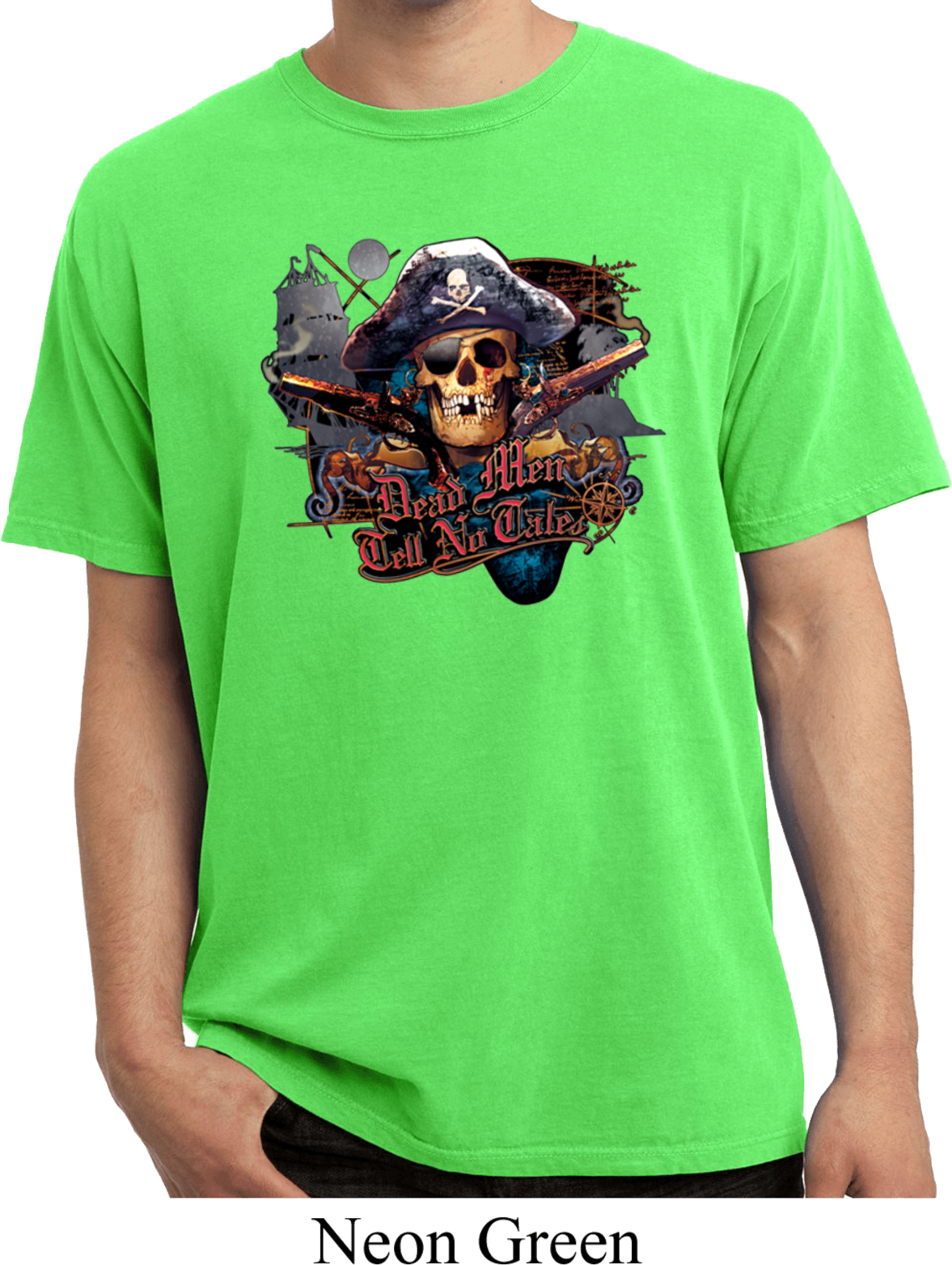 Mens Pirate Shirt Tell No Tales Pirate Pigment Dyed Tee T ...
