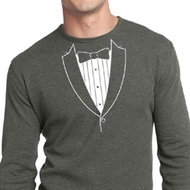 Mens Shirt Basic White Tuxedo Long Sleeve Thermal Tee T-Shirt