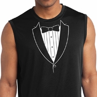 Mens Shirt Basic White Tuxedo Sleeveless Moisture Wicking Tee T-Shirt