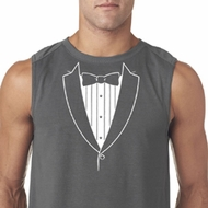Mens Shirt Basic White Tuxedo Sleeveless Tee T-Shirt