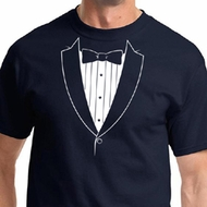Mens Shirt Basic White Tuxedo Tee T-Shirt