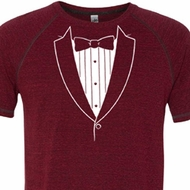 Mens Shirt Basic White Tuxedo Tri Blend Tee T-Shirt