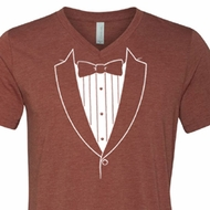 Mens Shirt Basic White Tuxedo Tri Blend V-neck Tee T-Shirt