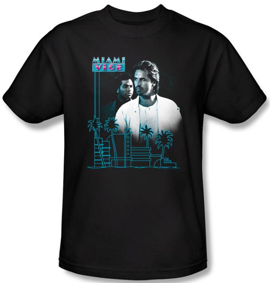 Miami Vice T-shirt Looking Out Adult Black Tee Shirt ...