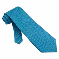 Micro Seahorses Tie Necktie - Men's Animal Print Blue Neck Tie