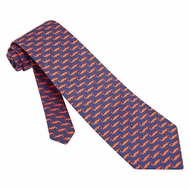 Mini Orange Alligators Silk Necktie - Men's Animal Print Neck Tie