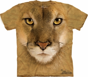 Mountain Lion Shirt Tie Dye Big Cat Face T-shirt Adult Tee