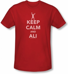 Muhammad Ali Keep Calm Shirt - Adult Boxing Red Tee