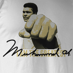 Muhammad Ali Shirt ALI Adult White Tee T-Shirt