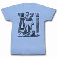 Muhammad Ali Shirt Boxing Legend Distressed Victory Light Blue T-Shirt