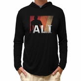Muhammad Ali Shirt Lightweight Hoodie Stripes Black Hoody