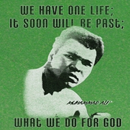 Muhammad Ali Shirt One Life Adult Green Tee T-Shirt