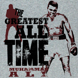 Muhammad Ali Shirt The Greatest All Time Adult Grey Tee T-Shirt