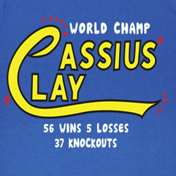 Muhammad Ali Shirt The World Champ Adult Blue Tee T-Shirt